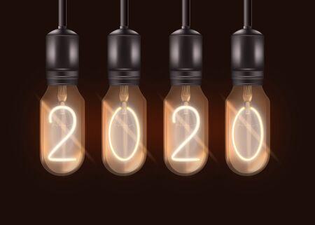 Numéro 2020 sur les ampoules électriques suspendues au plafond - lampes noires allumées réalistes avec des chiffres lumineux à l'intérieur. Symbole de célébration du nouvel an - illustration vectorielle isolé