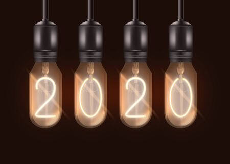 Number 2020 on electric light bulbs hanging from ceiling - realistic lit black lamps with glowing digits inside. New Year celebration symbol - isolated vector illustration Vectores