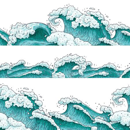 Hand drawn blue water wave set isolated on white background - sea waves in sketch drawing style. Stormy weather ocean tide - flat vector illustration. 일러스트