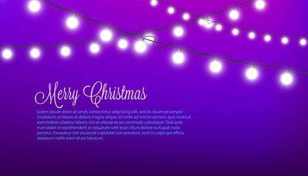 Merry Christmas - purple festive decorated with white round fairy lights and text template. Realistic holiday card with glowing light - vector illustration