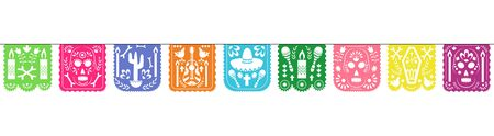 Colorful papel picado garland for Dia de los muertos holiday celebration - Mexico symbols on square paper cut outs isolated on white background, flat vector illustration.