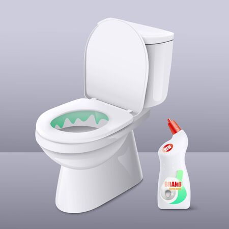Toilet cleaner liquid gel ad poster with realistic white ceramic toilet bowl with green disinfectant detergent inside. Cleaning product label template - vector illustration