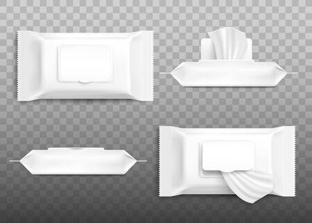 Set di mockup di confezione di salviettine umidificate cosmetiche realistiche con lembo aperto e chiuso dalla vista dall'alto e laterale isolato su sfondo trasparente - illustrazione vettoriale modello vuoto