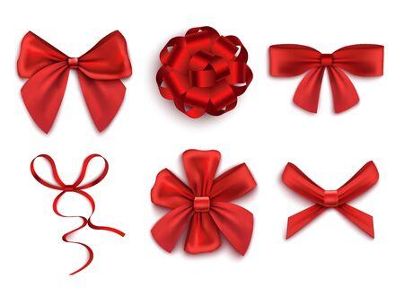Satz rote Geschenkbögen mit Bändern in der realistischen Vektorillustration der verschiedenen Formen lokalisiert auf weißem Hintergrund. Urlaub oder Geburtstag präsentiert Dekorationselement.