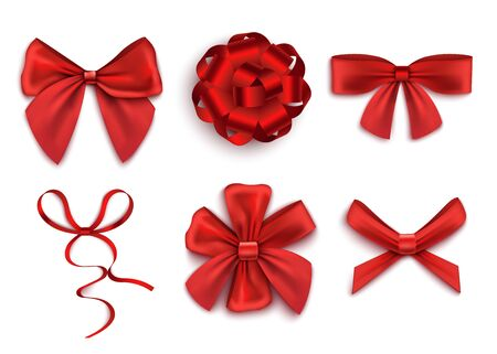 Set of red gift bows with ribbons in various shapes realistic vector illustration isolated on white background. Holiday or birthday presents decorations element.