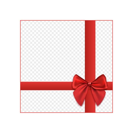 Gift packaging mockup with knotted red ribbons and decorative bow, realistic vector illustration isolated on transparent background. Birthday or Christmas present decor.