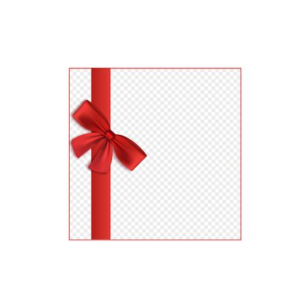 Ruban de satin rouge attaché à l'élément de bordure d'arc, illustration vectorielle réaliste 3d isolée sur fond transparent. Conception de décoration de coffrets cadeaux, de packs ou de cartes de voeux.