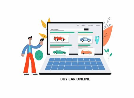 Online car purchasing banner with man cartoon character using mobile phone to buy new car, vector illustration isolated on white background. App for automobile buying. Stock Illustratie