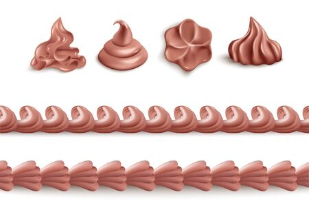 Chocolate whipped cream - isolated realistic set of brown dessert icing in individual swirl shapes or seamless line border form. Food decoration collection, vector illustration
