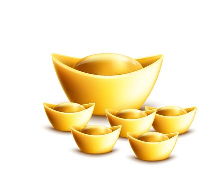 Gold ingot ancient symbol of prosperity and riches in Chinese culture, set of 3d realistic vector illustrations in different sizes isolated on white background.  イラスト・ベクター素材