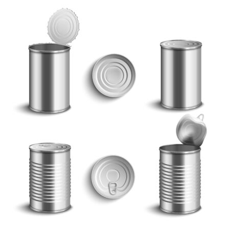 Realistic metal tin can set from side and top view open and closed isolated on white background - food preserve containers with shiny aluminium steel texture, vector illustration Vector Illustratie