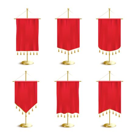 Red fabric various shapes blank pennants or soccer flags with tassel fringe on golden spire pedestal set of realistic vector illustration isolated on white background.  イラスト・ベクター素材
