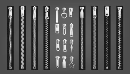Set of different zippers or metal lock fastener realistic vector illustrations isolated on gray background. Clothing fashion details - pullers and zips collection. Ilustracja