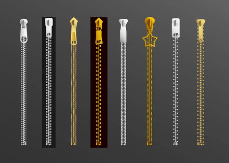 Different types of zipper - gold and silver zippers set with or without tape with various shapes of chain teeth, pull tab slider and puller. Isolated vector illustration. Illustration