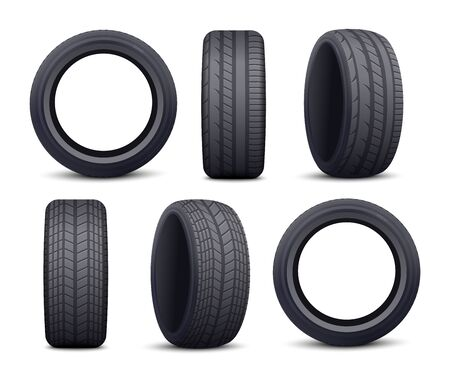 Realistic black car tire set isolated on white background - front and side view of auto wheel protector with different patterns and angles. Vector illustration. Illustration