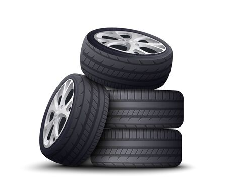 Realistic car wheel pile isolated on white background - spare automobile parts with black tires and metal rims stacked and piled on top of each other - vector illustration Vektoros illusztráció