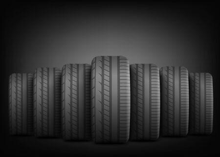 Neumáticos de caucho negro de pie en línea de fila sobre fondo oscuro dramático - plantilla de cartel publicitario con espacio de copia que muestra ruedas de coche realistas alineadas en la parte delantera - ilustración vectorial