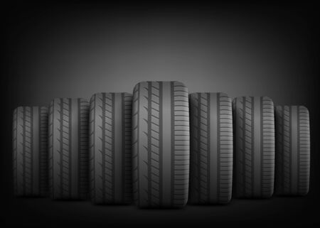 Black rubber tires standing in row line on dramatic dark background - ad poster template with copy space showing realistic car wheels lined up in front -vector illustration Illustration