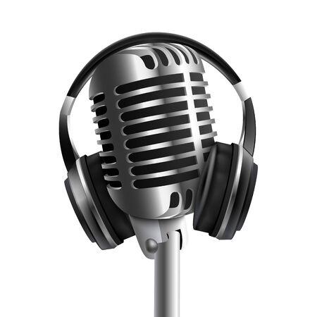 Casque - casque de studio sonore avec microphone illustration vectorielle réaliste 3d isolée sur fond blanc. Appareil d'équipement de diffusion de musique audio et de radio.