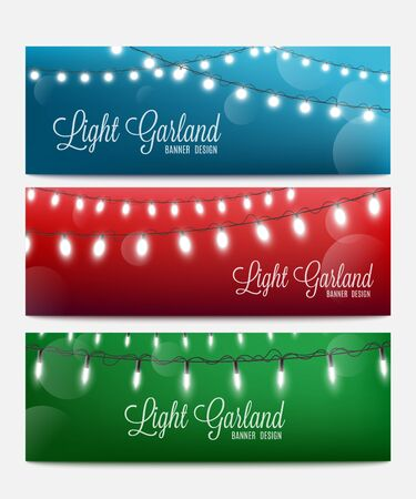 Set of abstract bokeh backgrounds with garland lights in various colors, realistic vector illustration. Holiday celebrations and party flyer or poster backdrop template.