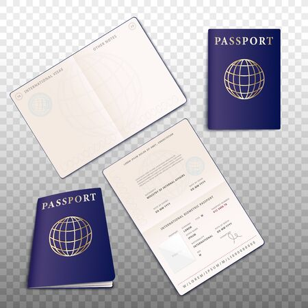 Realistic detailed passport mockup set of 3d vector illustrations isolated on transparent background. Open and closed ID document for traveling and tourism topic design. Ilustração