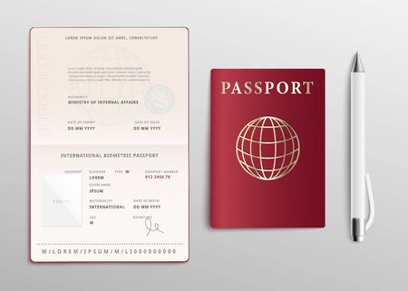 Realistic passport with globe sign on red cover and pen mockup set of 3d vector illustrations isolated on light background. Open and closed ID document for traveling.