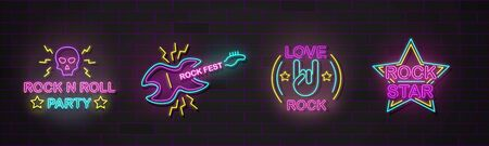 Set of music instruments and rock symbols in neon sign style realistic vector illustration isolated on dark wall background. Club or music event electric bright signboard. Ilustração