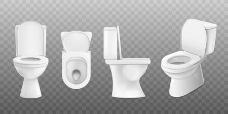 Realistic white ceramic toilet set from top, side and front view isolated on transparent background - modern sparkly clean restroom element. Vector illustration Illustration