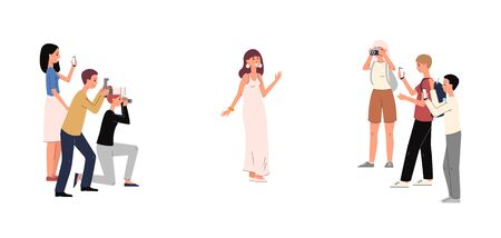 Cartoon celebrity woman in luxury dress posing for paparazzi camera - people at award show looking at beautiful famous actress. Isolated flat vector illustration.  イラスト・ベクター素材