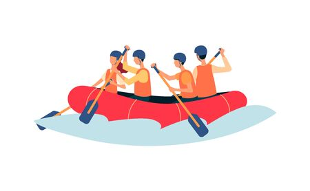 Rafting - gens de dessin animé ramant dans un bateau gonflable portant des gilets de sécurité et des casques isolés sur fond blanc - équipe de sports nautiques extrêmes illustration vectorielle plane. Vecteurs