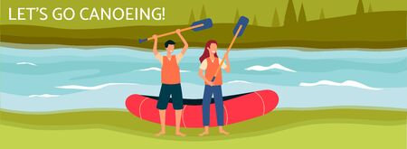 Lets go canoeing banner or poster template with people cartoon characters holding paddles flat vector illustration. Rafting on boats and tourists water activity background.
