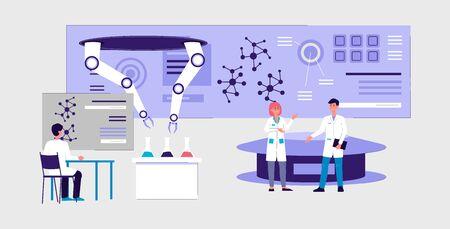 Banner interior de laboratorio futurista - gente científica de dibujos animados haciendo experimentos científicos utilizando tecnología de mano robótica y equipo moderno, ilustración vectorial. Ilustración de vector