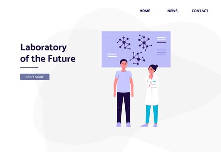 Laboratory of the Future banner template with scientists man and woman cartoon character working on genetic, biology or chemistry innovations, flat vector illustration.