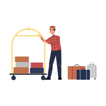 Porter man cartoon character in uniform and with luggage trolley flat vector illustration isolated on white background. Hotel staff for tourism and traveling projects.