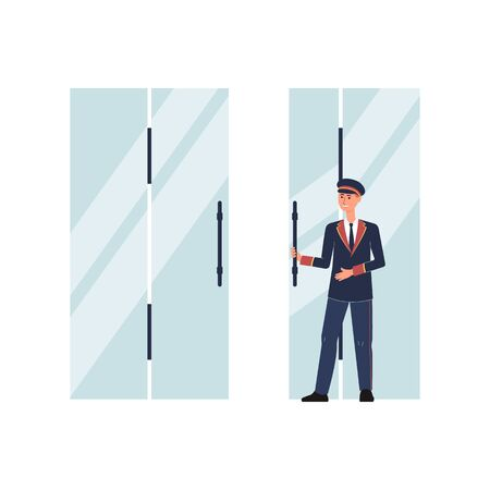 Porter or doorman, doorkeeper cartoon character in uniform suit opening entrance doors flat vector illustration isolated on white background. Hotel staff employee.