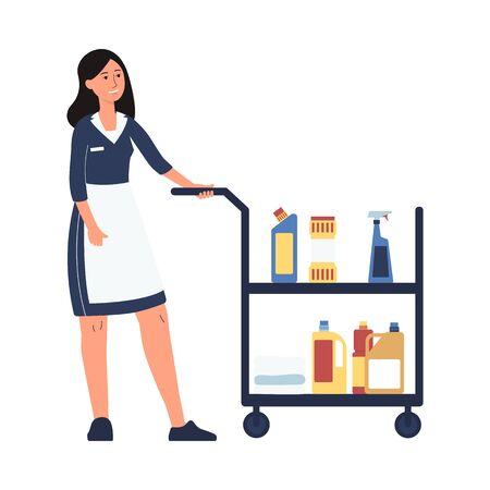 Employé du service de chambre d'hôtel - femme de ménage en dessin animé en uniforme de femme de chambre poussant un chariot avec des produits de nettoyage. Femme de ménage - illustration vectorielle plane isolée