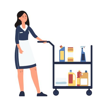 Hotel room service worker - cartoon cleaner woman in maid uniform pushing trolley cart with cleaning supplies. Female housekeeper - isolated flat vector illustration Ilustracja