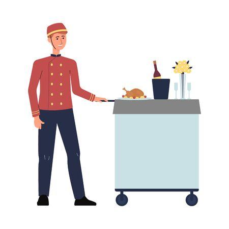 Employé du service alimentaire de l'hôtel en uniforme rouge poussant le chariot avec un repas de luxe. Garçon de dessin animé souriant et servant du poulet et du vin - illustration vectorielle plane isolée