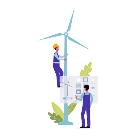 Windmill repair - cartoon maintenance worker man climbing the energy mill and technician doing virtual diagnostics. Isolated flat vector illustration on white background. Ilustracja