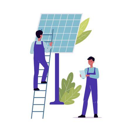 Trabajadores de mantenimiento y reparación de paneles solares: hombres de dibujos animados que suben una escalera para reparar o limpiar una fuente de energía renovable y ejecutar un diagnóstico. Ilustración de vector plano aislado.
