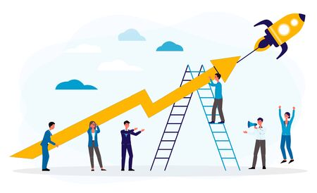 Business boost or successful startup concept with people characters and rocket, flat vector illustration isolated on white background. Company development and growth. 일러스트
