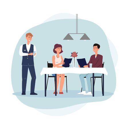 Paar uit eten, man en vrouw stripfiguren eten bestellen in restaurant of café en ober permanent in de buurt, platte vectorillustratie geïsoleerd op een witte achtergrond.