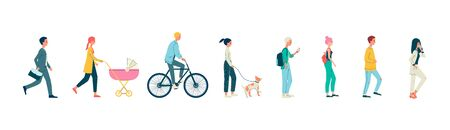 Cartoon people walking set isolated on white background - businessman, mother with stroller, bicycle rider and other men and women. Flat vector illustration.