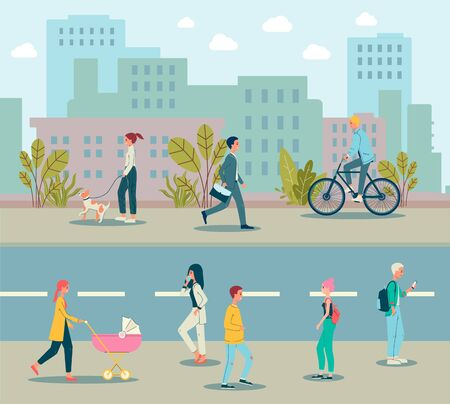 Modern city landscape with people cartoon characters walking down the street, rushing to work and riding a bicycle, flat vector illustration with skyscrapers background.