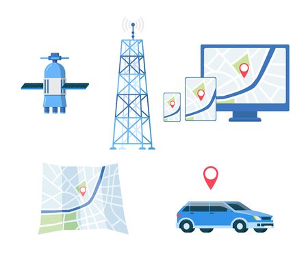GPS navigation or road direction navigators satellite system equipment set, flat vector illustration isolated on white background. Journey route map, car and tower. Ilustracje wektorowe