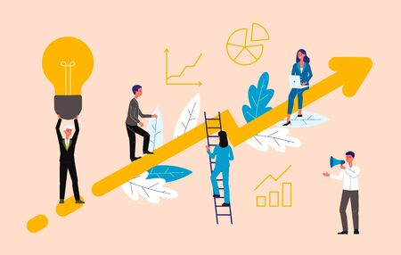 Business motivational coaching and training concept with people characters on rising arrow, flat vector illustration. Company development and successful management. Illustration