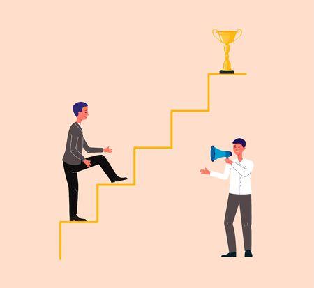 Personnage de dessin animé d'homme d'affaires grimpant sur la flèche motivé par l'entraîneur ou le mentor, illustration vectorielle à plat. Coaching ou formation en entreprise, stratégie de réussite.