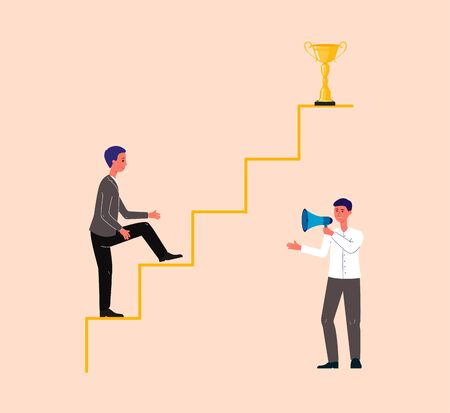 Businessman cartoon character climbing on arrow motivated by coach or mentor, flat vector illustration. Business coaching or training, success achievement strategy.