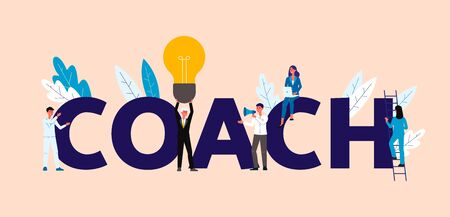 Coach inscription and business people characters in coaching, motivational training and mentoring concept, flat vector illustration. Effective development strategy.