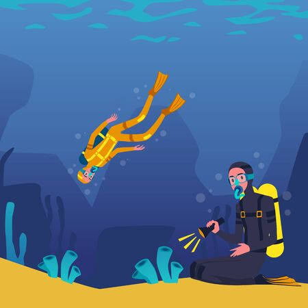 Divers in costumes cartoon characters swimming and plunging underwater, flat vector illustration on blue seascape background. Extreme sports activity and diving. Ilustração